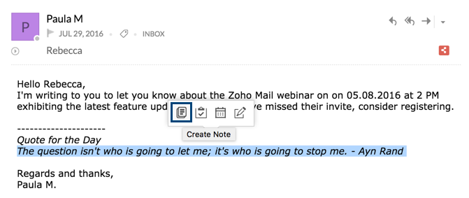 Using Notes in Zoho Mail