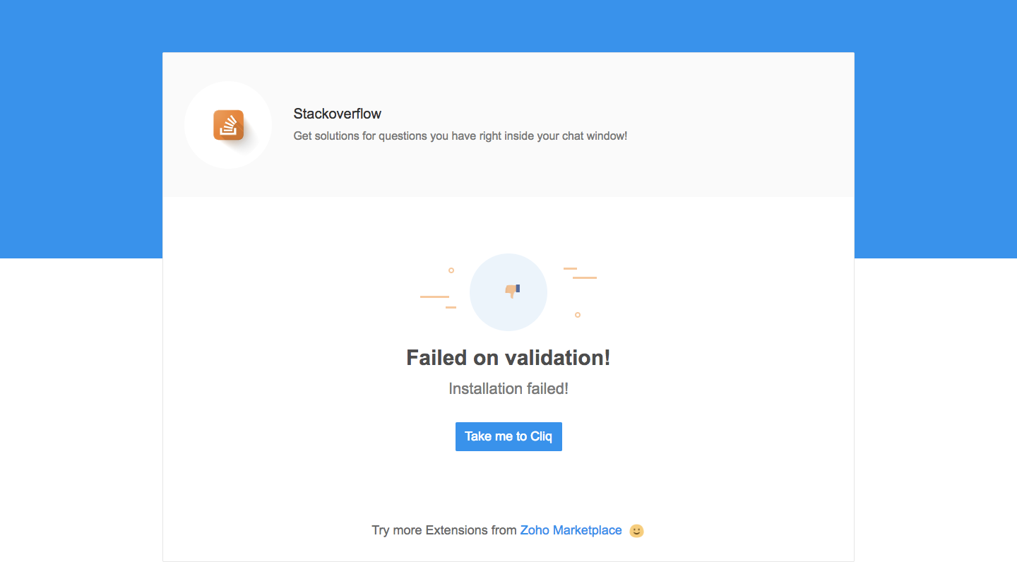 Sample message when extension validation fails