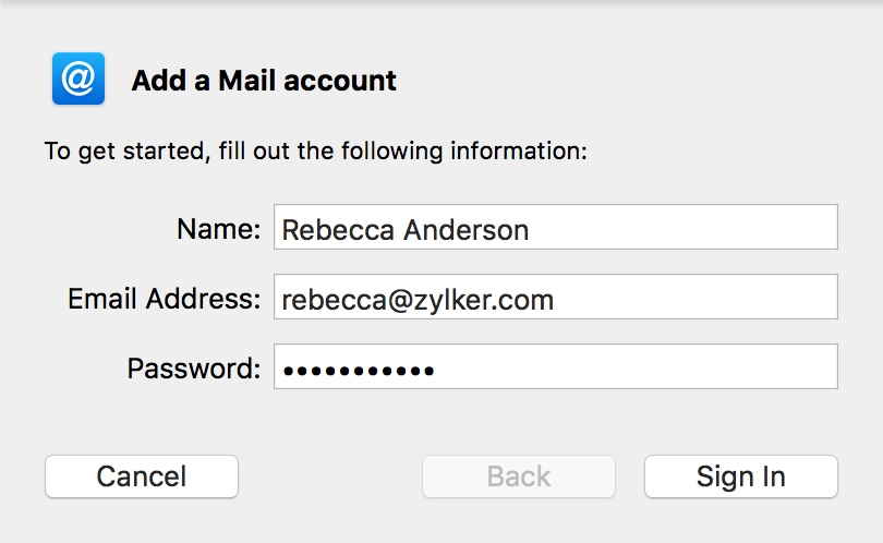 Add Zoho Mail account in Mac