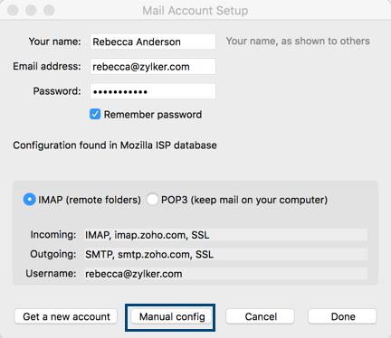 Thunderbird IMAP access - Zoho Mail