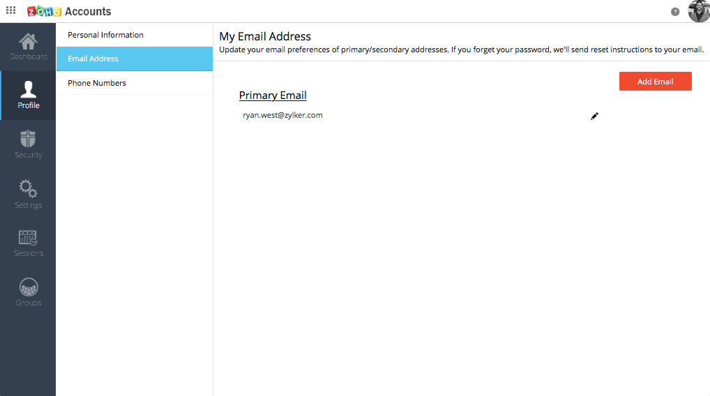 Under Email address you can add a secondary email address.