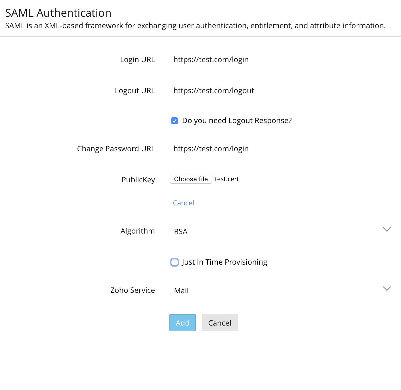 SAML - Configure at Zoho | Help - Zoho Accounts