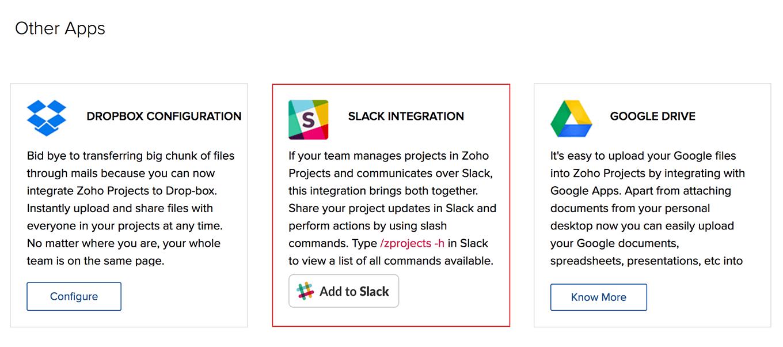 Slack Integration | Zoho Projects