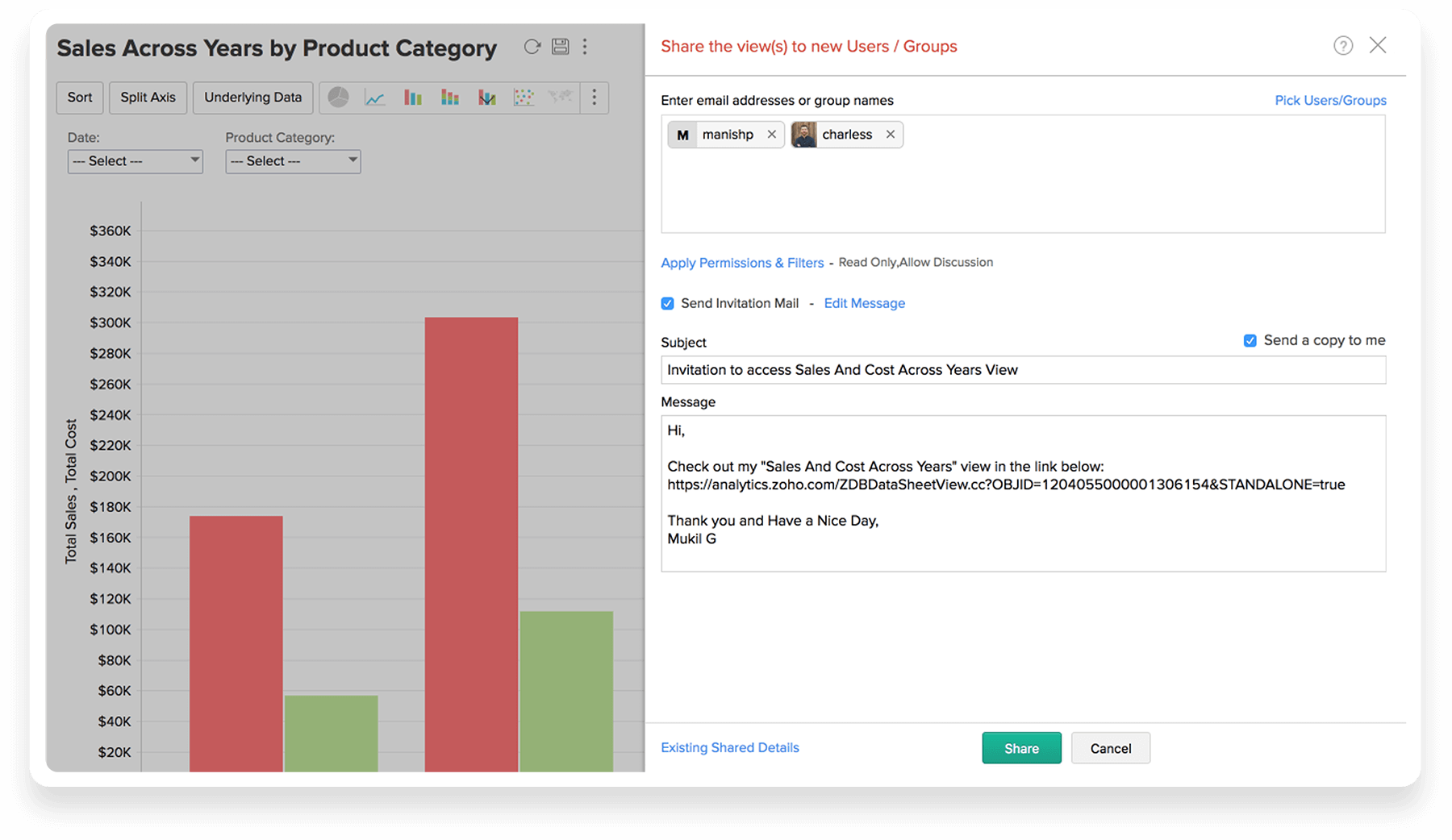 Collaborate online with Zoho Analytics Data Visualization Tool