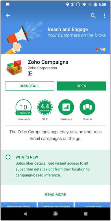 Installing the Zoho Campaigns app on Android Devices - Online Help