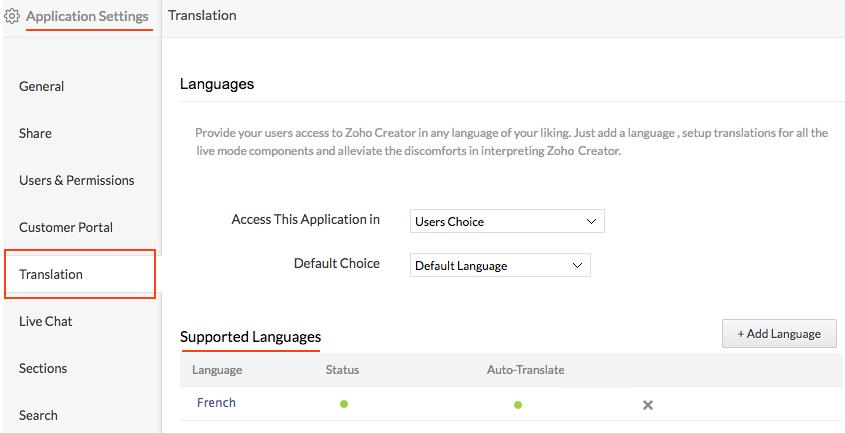 Translation and Multi-language support | Help - Zoho Creator