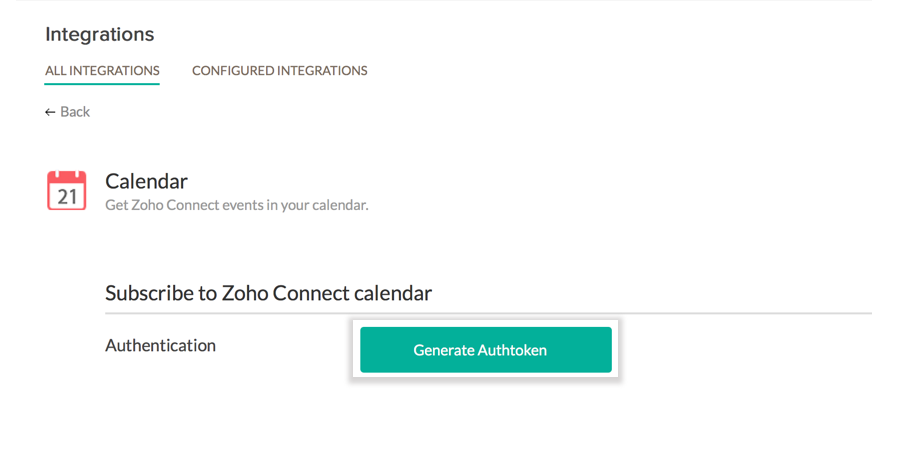 Zoho Connect help | Calendar Integration