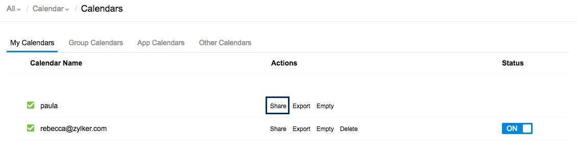 Share personal calendars with colleagues and groups in Zoho