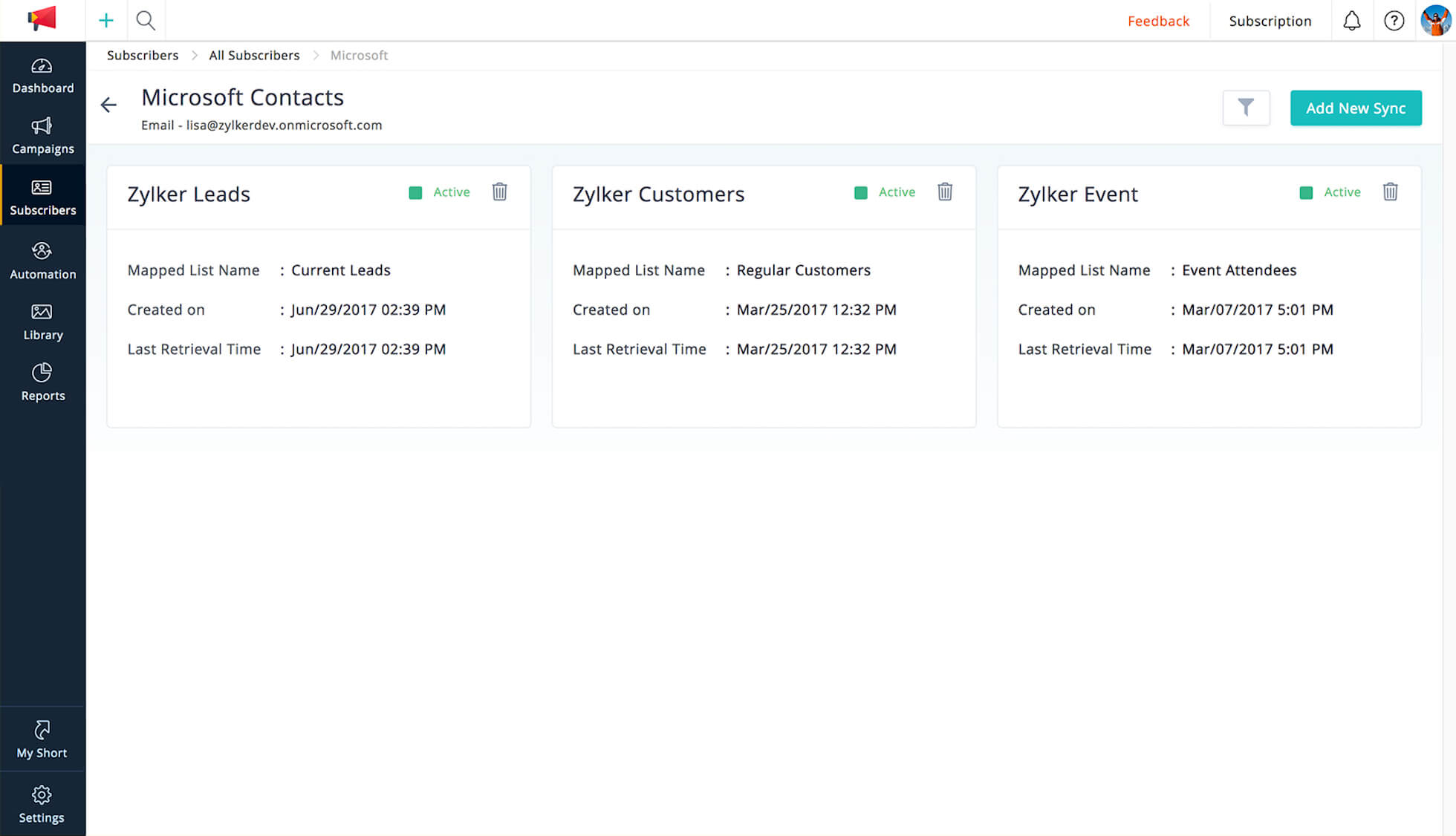 Import contacts from your Office 365 account into Zoho Campaigns