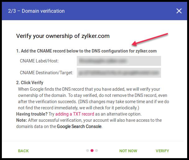 Google Postmaster Tool DNS
