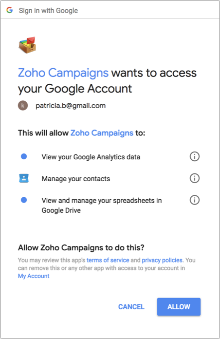 Integrations with Google Apps - Online Help   Zoho Campaigns