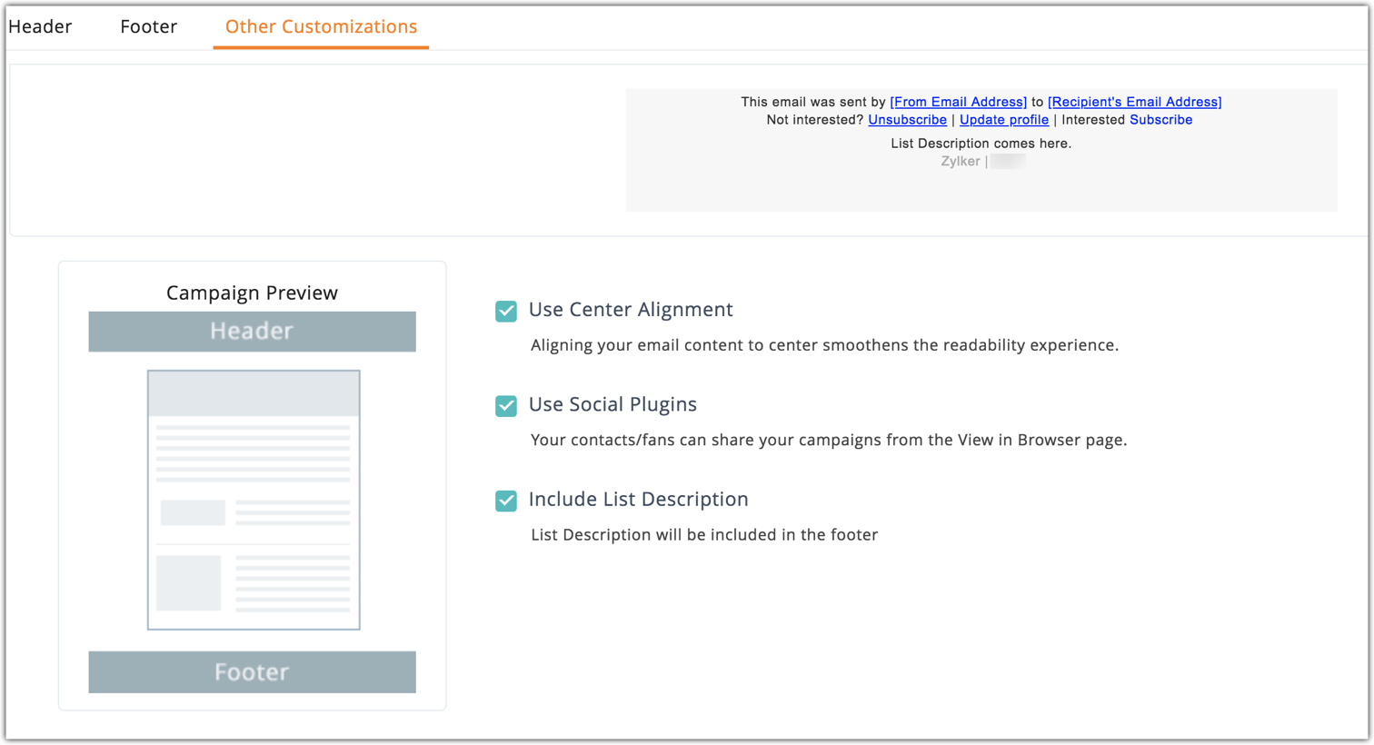 Learn about Customization - Online Help | Zoho Campaigns