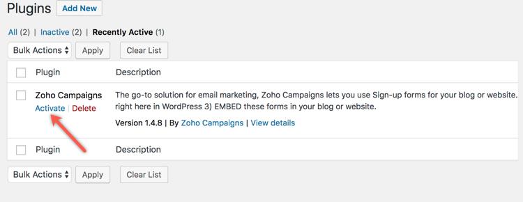 WordPress Plugin - Online Help | Zoho Campaigns