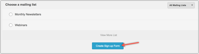 Create sign-up form option