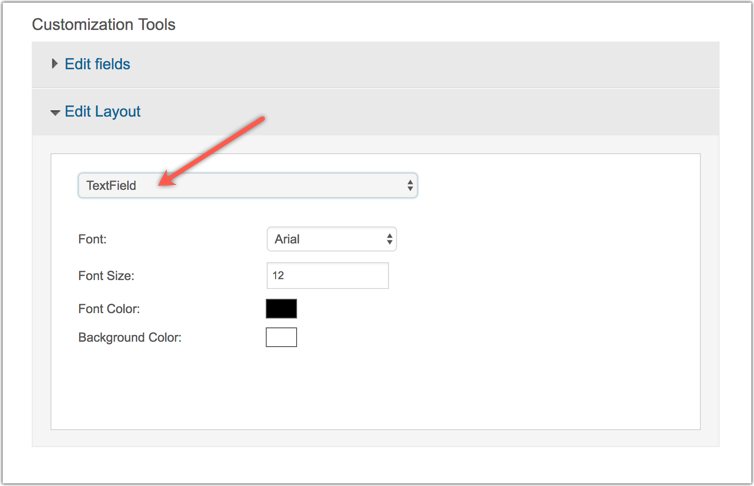 Edit signup form text field