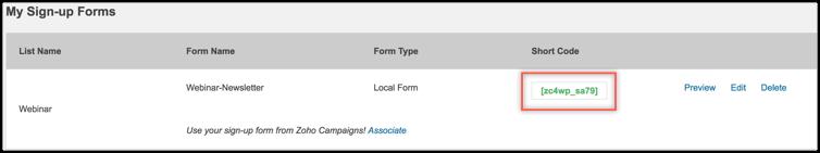 Signup form short code