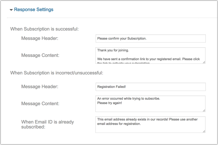 Customize signup form response