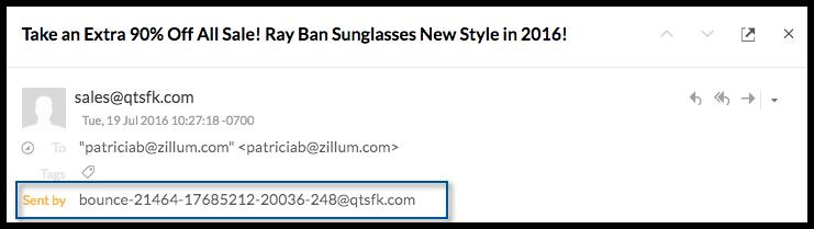 How Zoho Mail shows sender details