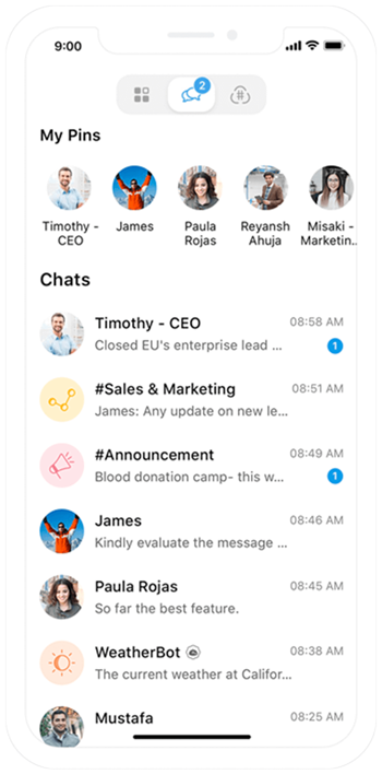 Software di chat mobile per team - Zoho Cliq