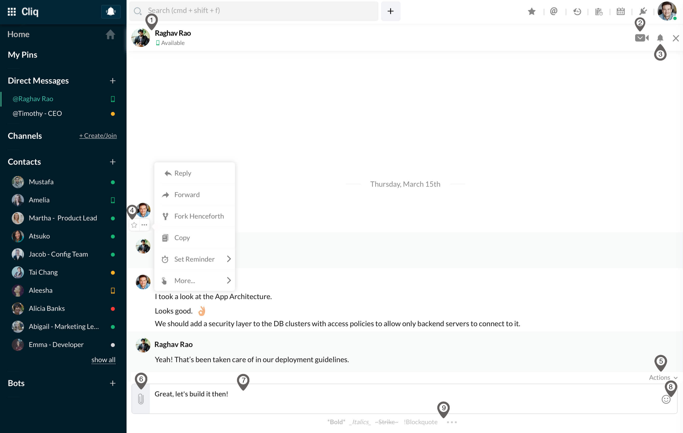 The Chat window in detail with all its features