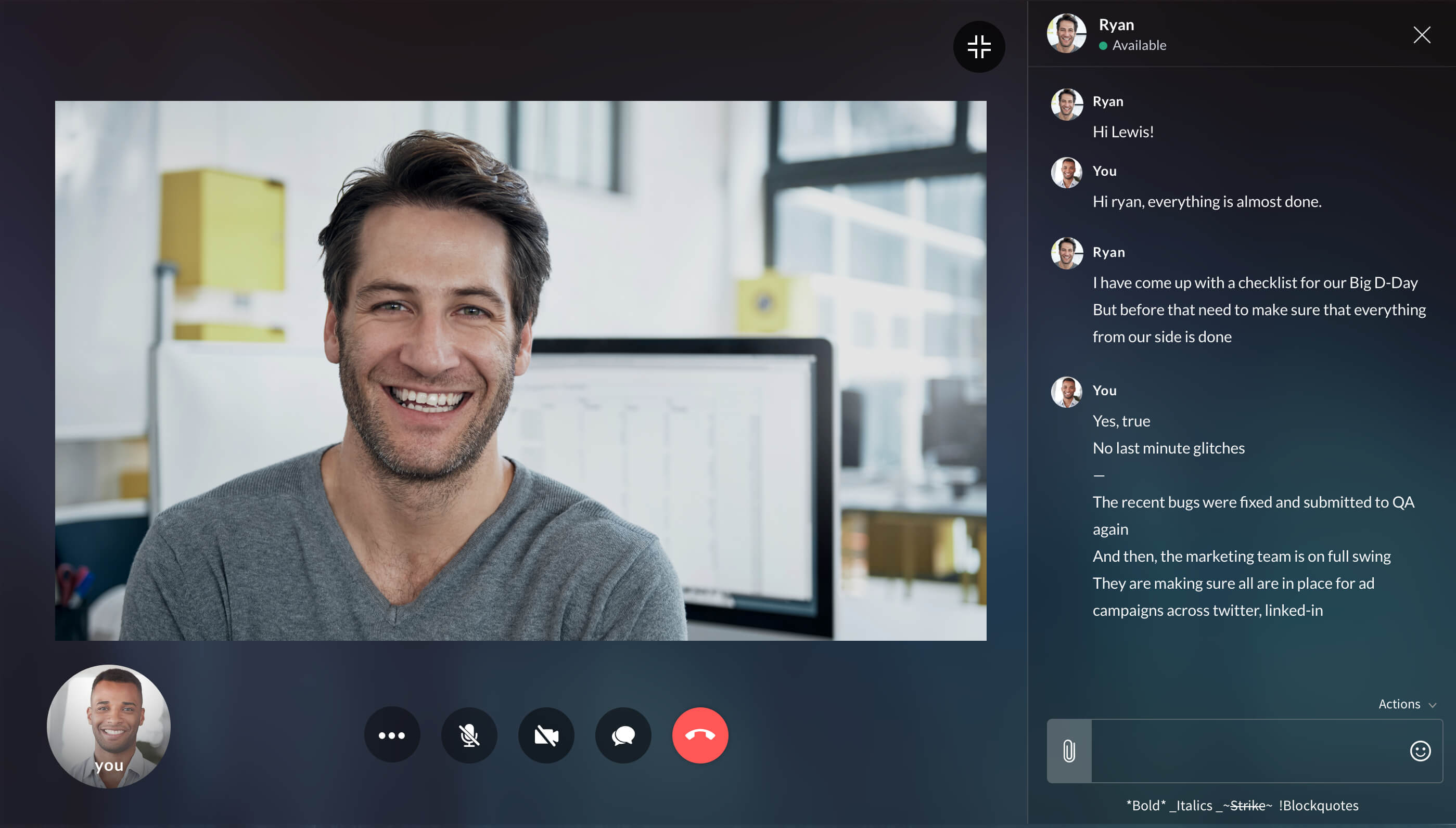Fullscreen video call