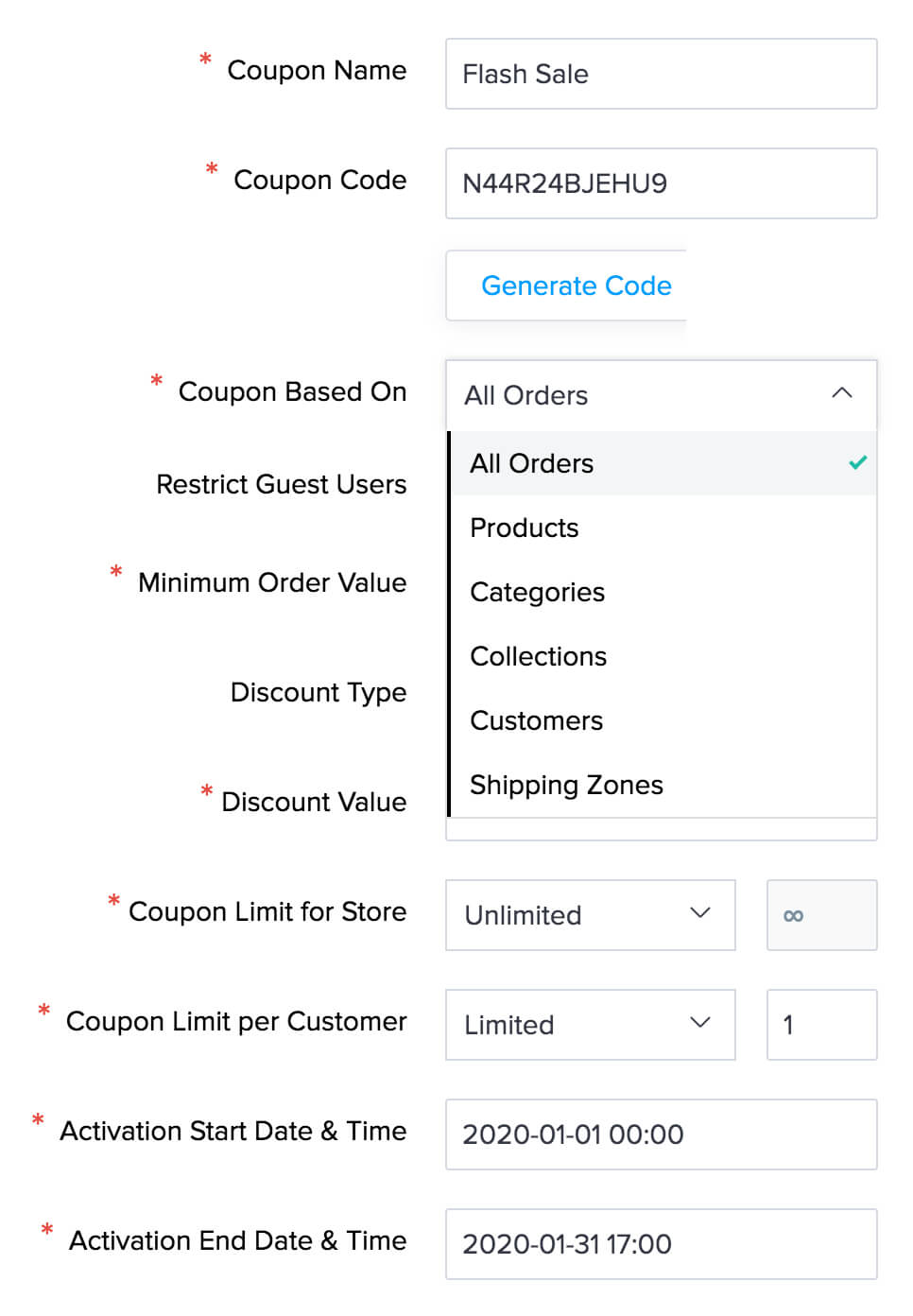 Advanced coupon implementation