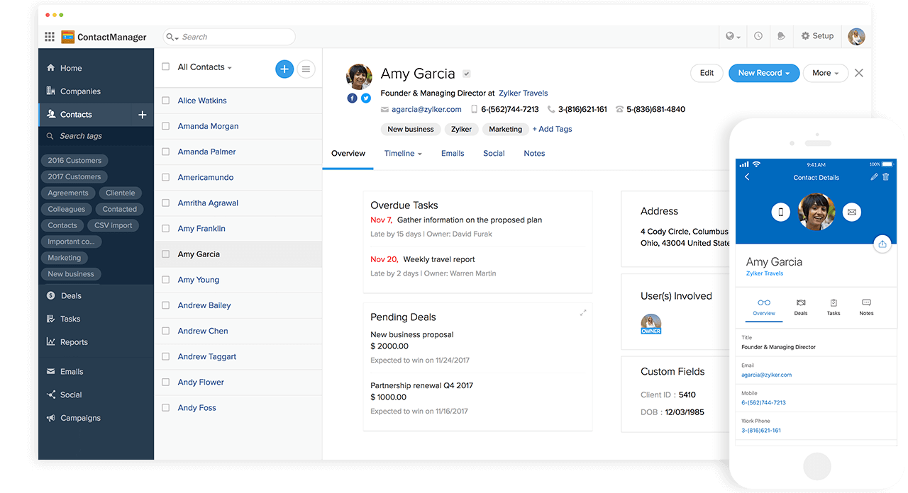 Zoho Contactmanager Contacts Dashboard Webpage