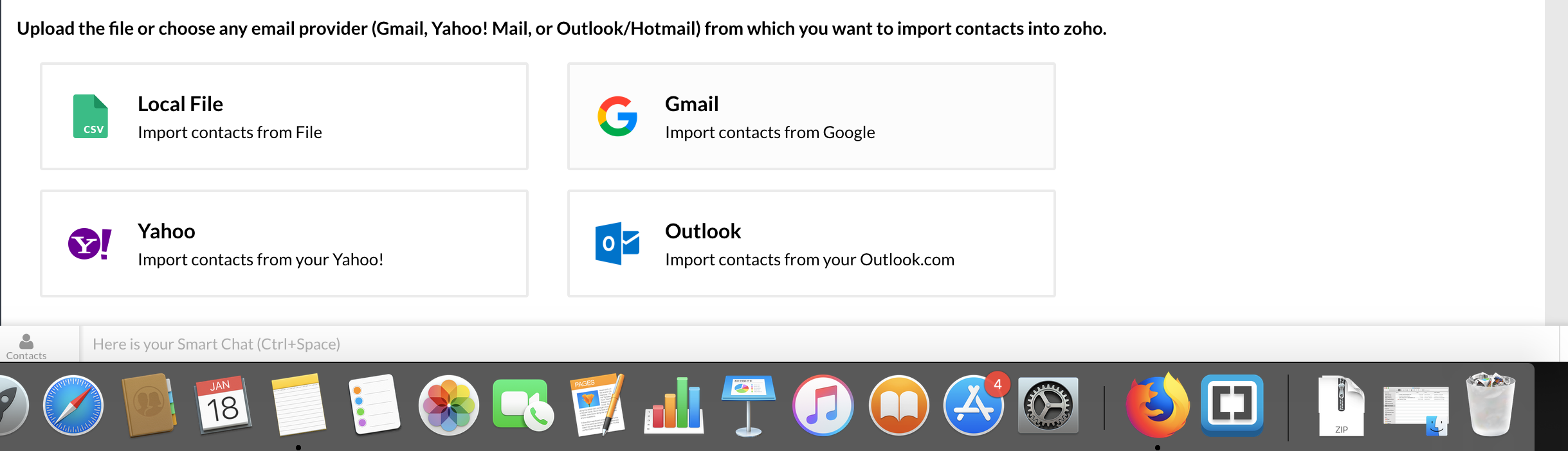 Import and Export Contacts | Help - Zoho Contacts