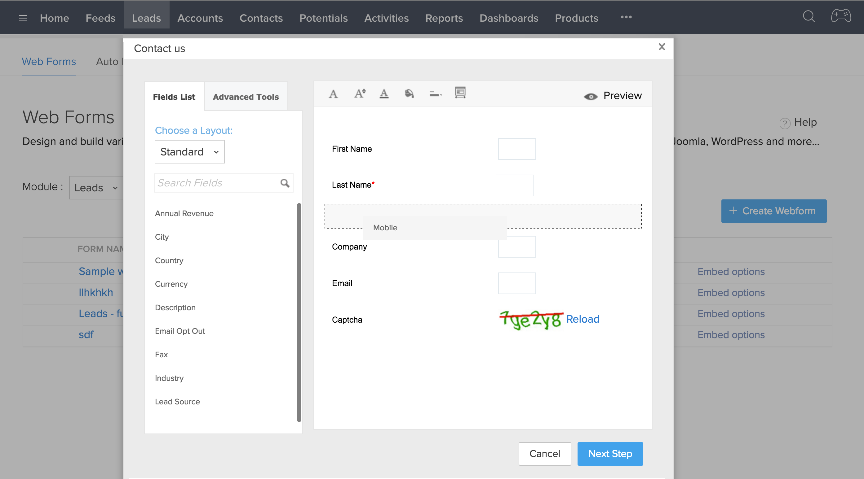 Web Forms for lead generation - Zoho CRM