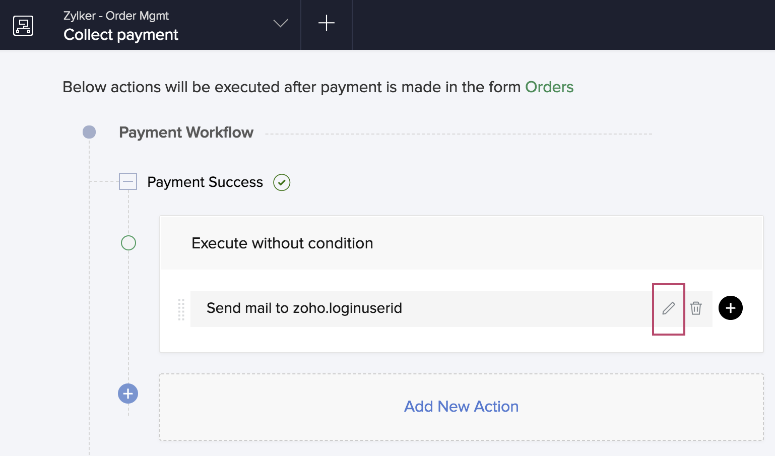 Configure Email Notification in a Payment Workflow | Zoho