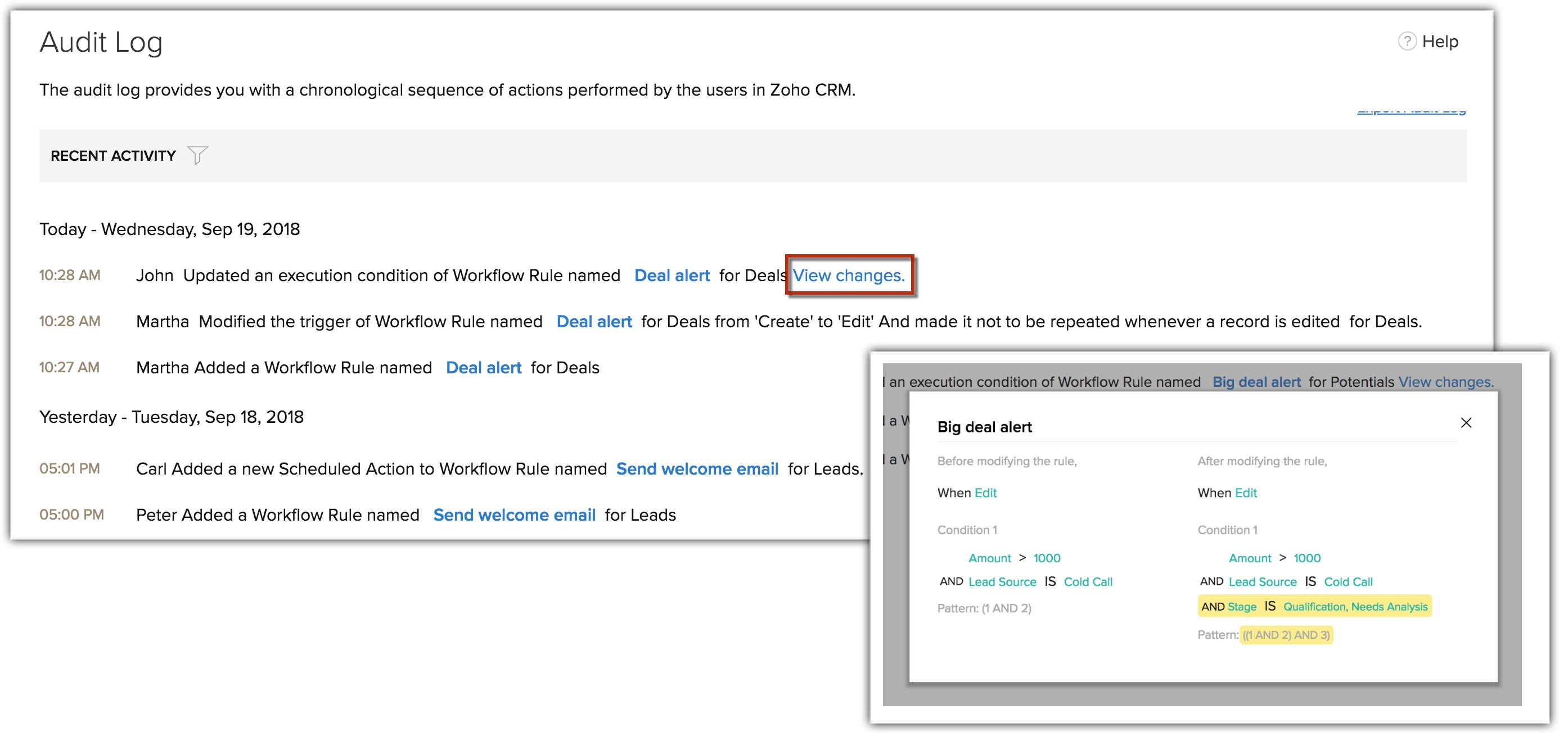 Monitoring Audit Logs Online Help Zoho Crm