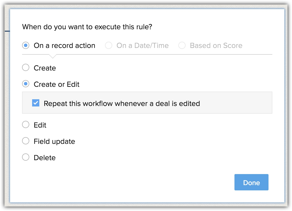 Workflow Rules | Online Help - Zoho CRM