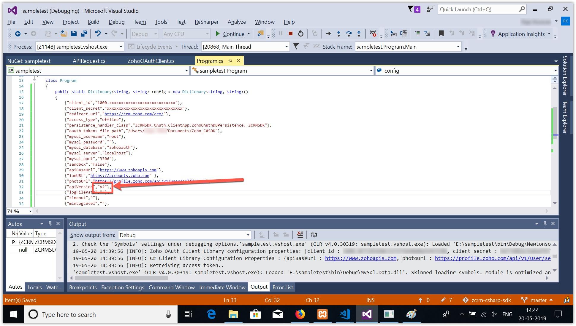 Errors & Solutions - C Sharp SDK | Online Help - Zoho CRM
