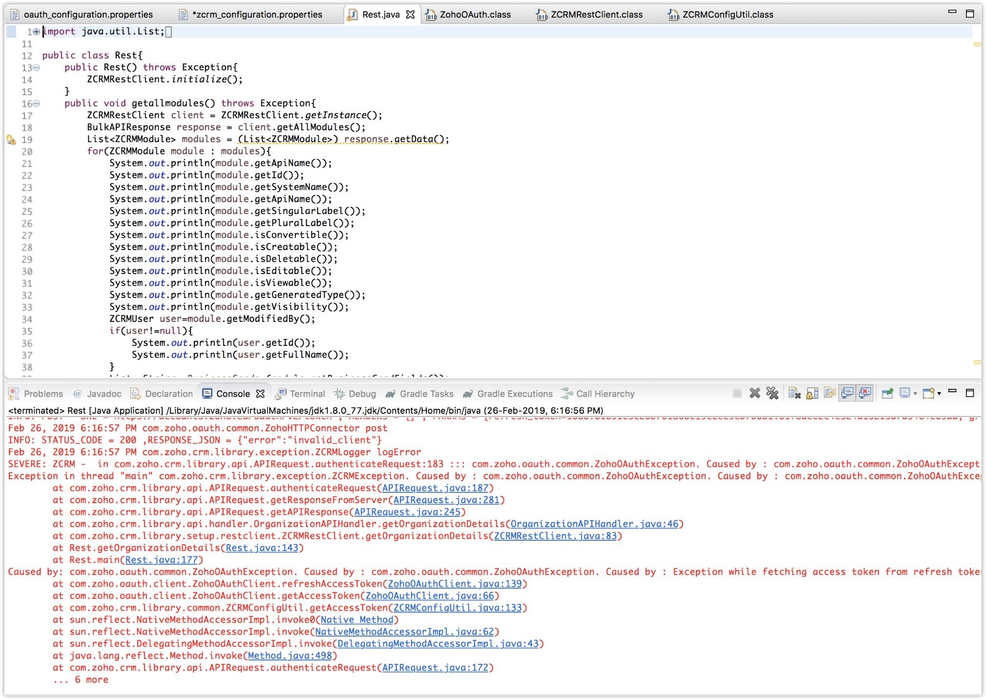 Errors & Solutions - Java SDK   Online Help - Zoho CRM