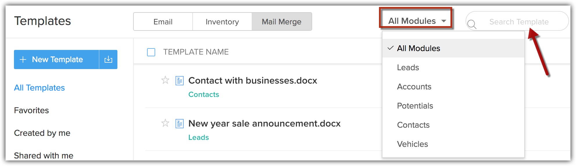 Managing Mail Merge Templates Online Help Zoho Crm