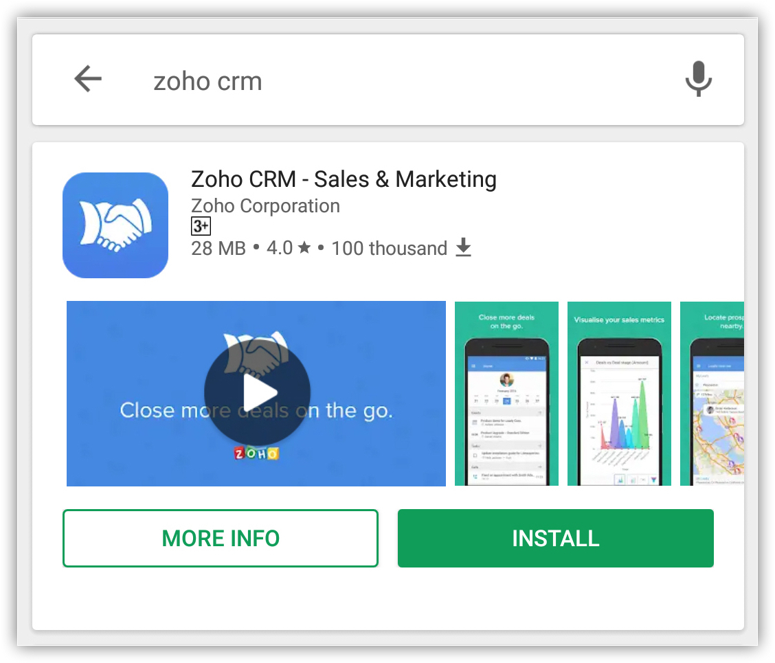 Installing App in Android | Online Help - Zoho CRM