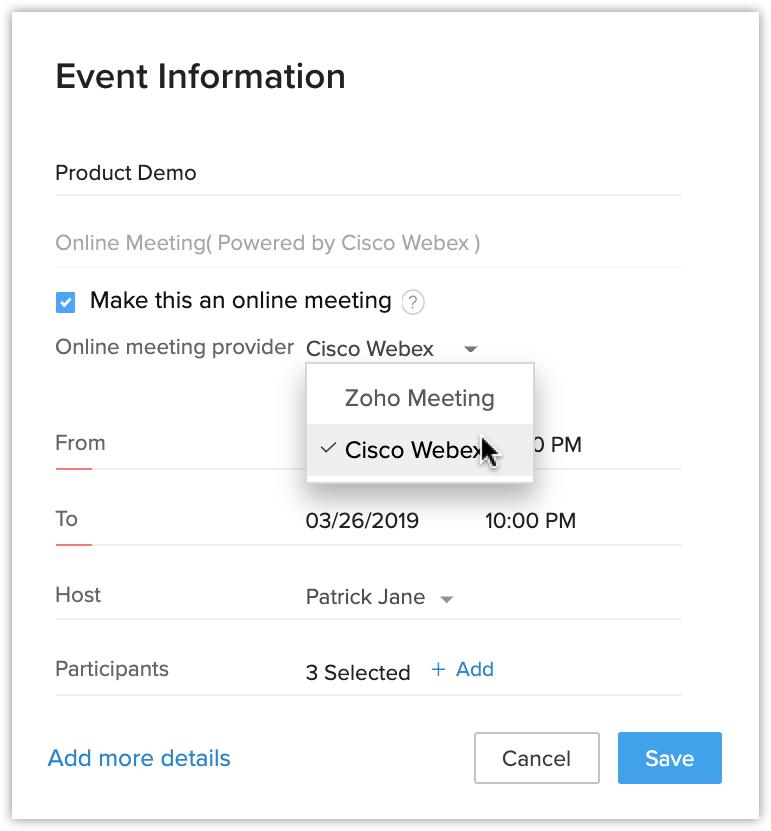 Cisco Webex | Online Help - Zoho CRM
