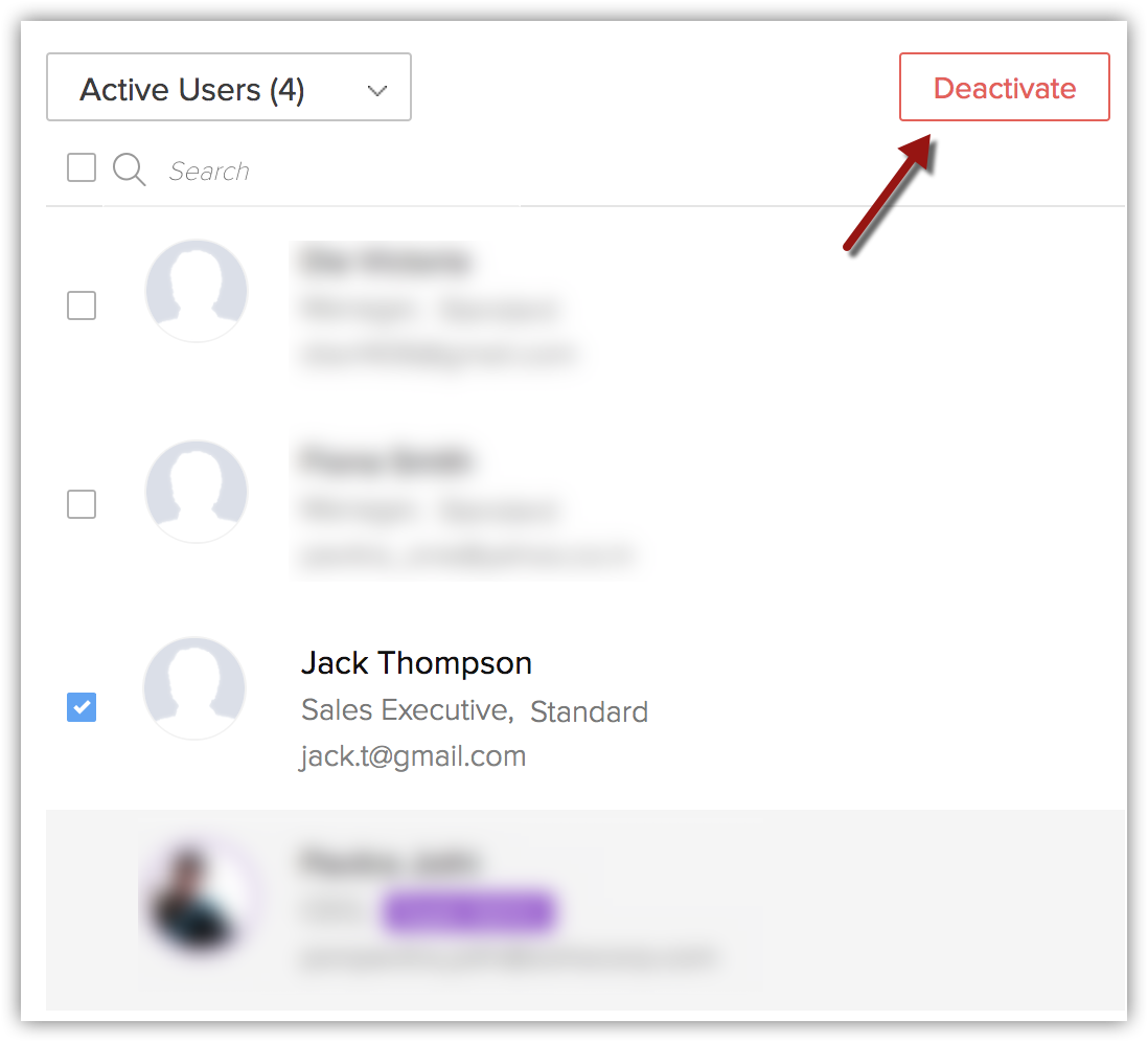 Activating and Deactivating Users - Online Help - Zoho CRM