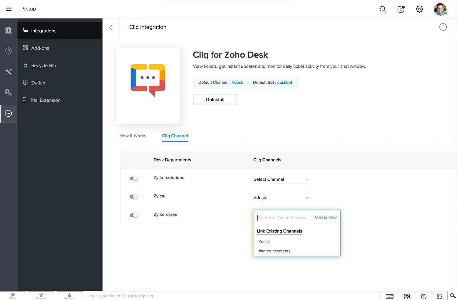 In the desk page, after installing Cliq extension, you can configure channels for your desk departments