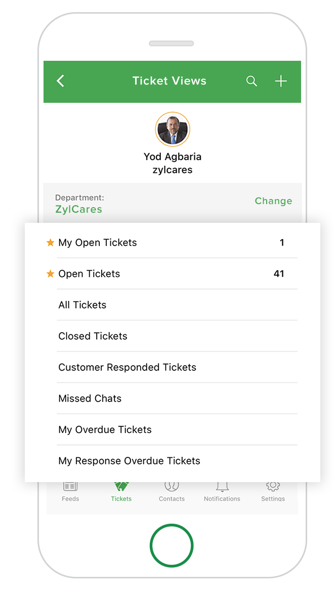Zoho Desk Moble app consolidated views
