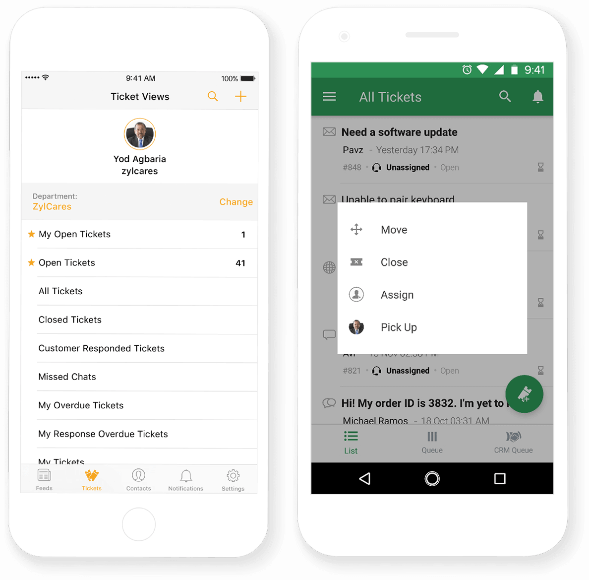 Zoho Desk's Mobile App for Email Ticketing