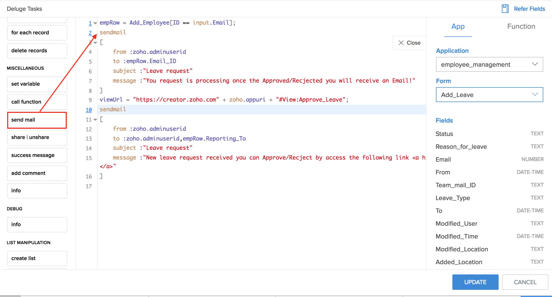 Configure Deluge Script on Success in Form Workflows | Zoho Creator Help