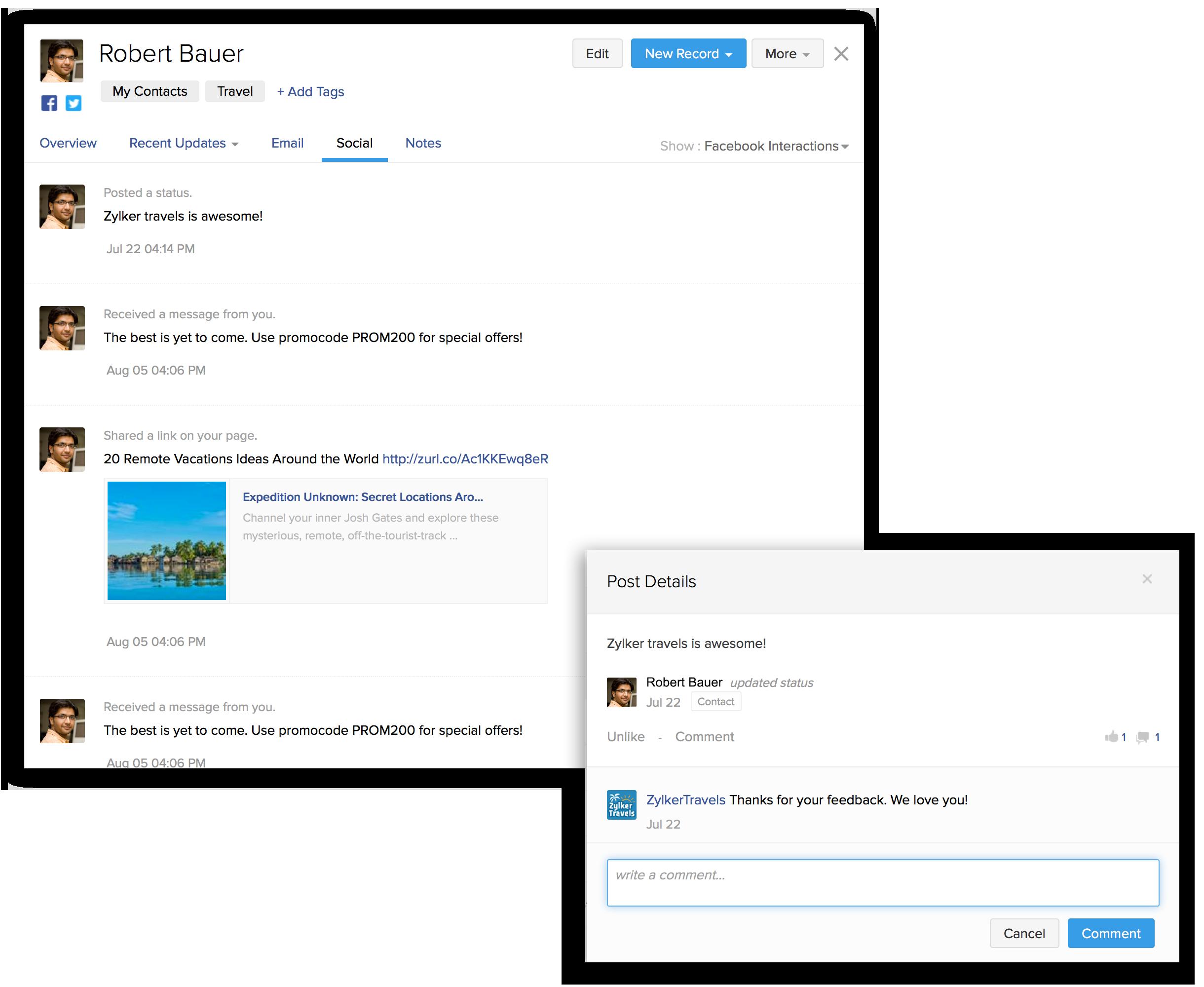Facebook Integration   Zoho ContactManager