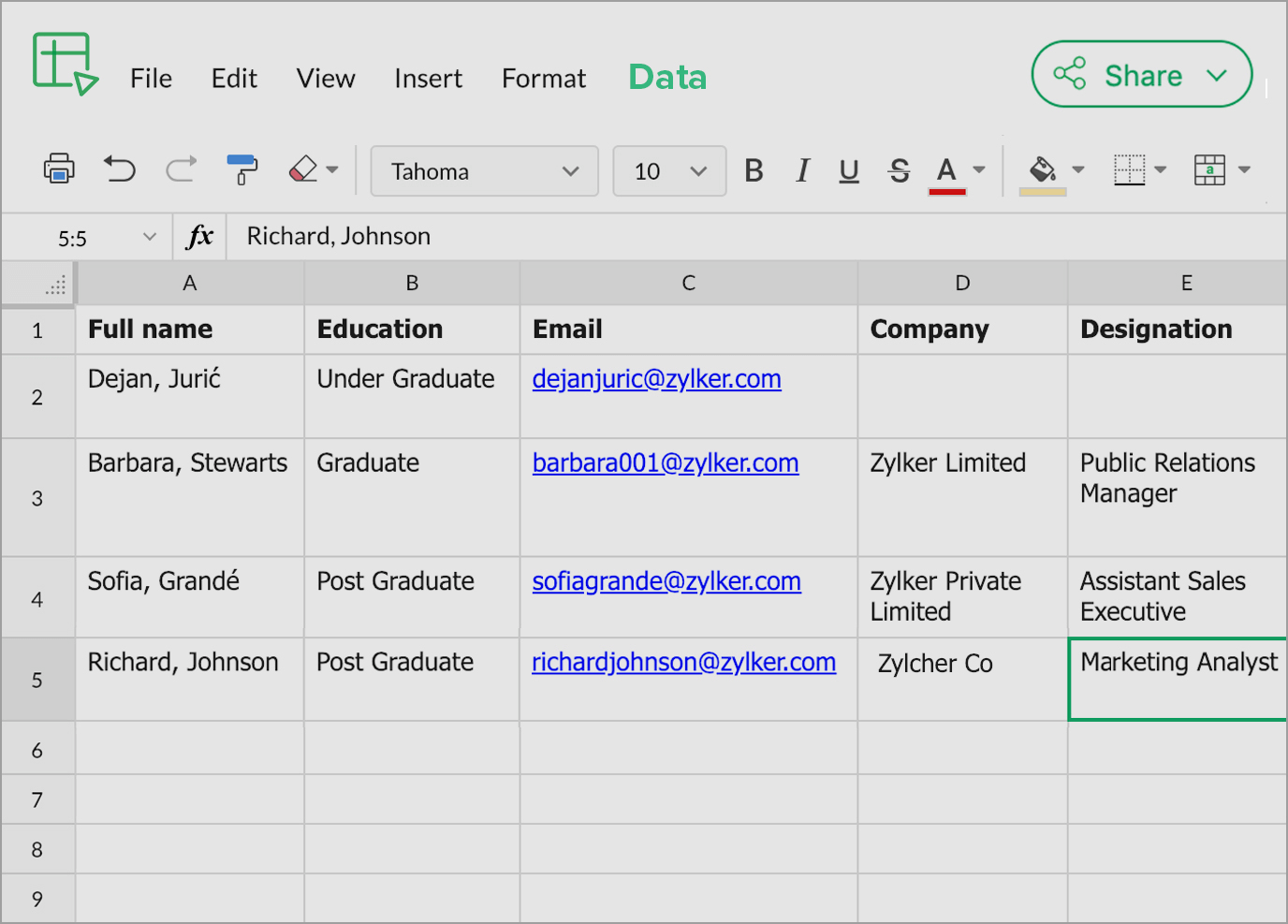 Collect form submissions in spreadsheet