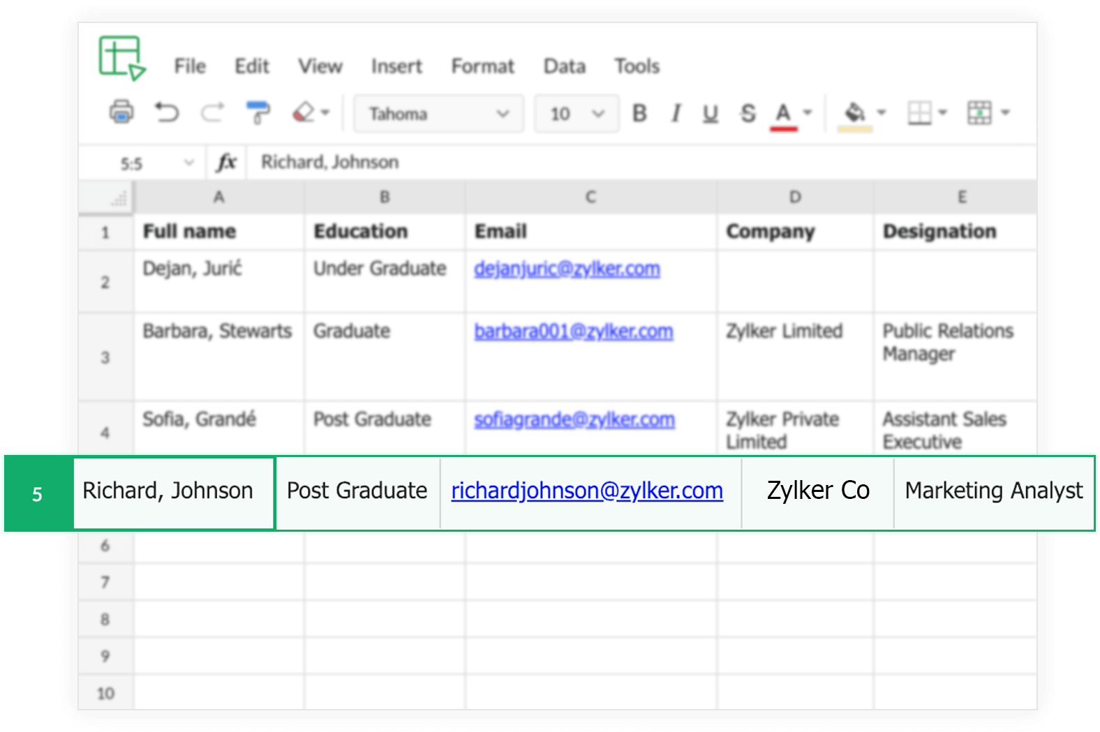 Zoho Forms Integration with Zoho Sheets