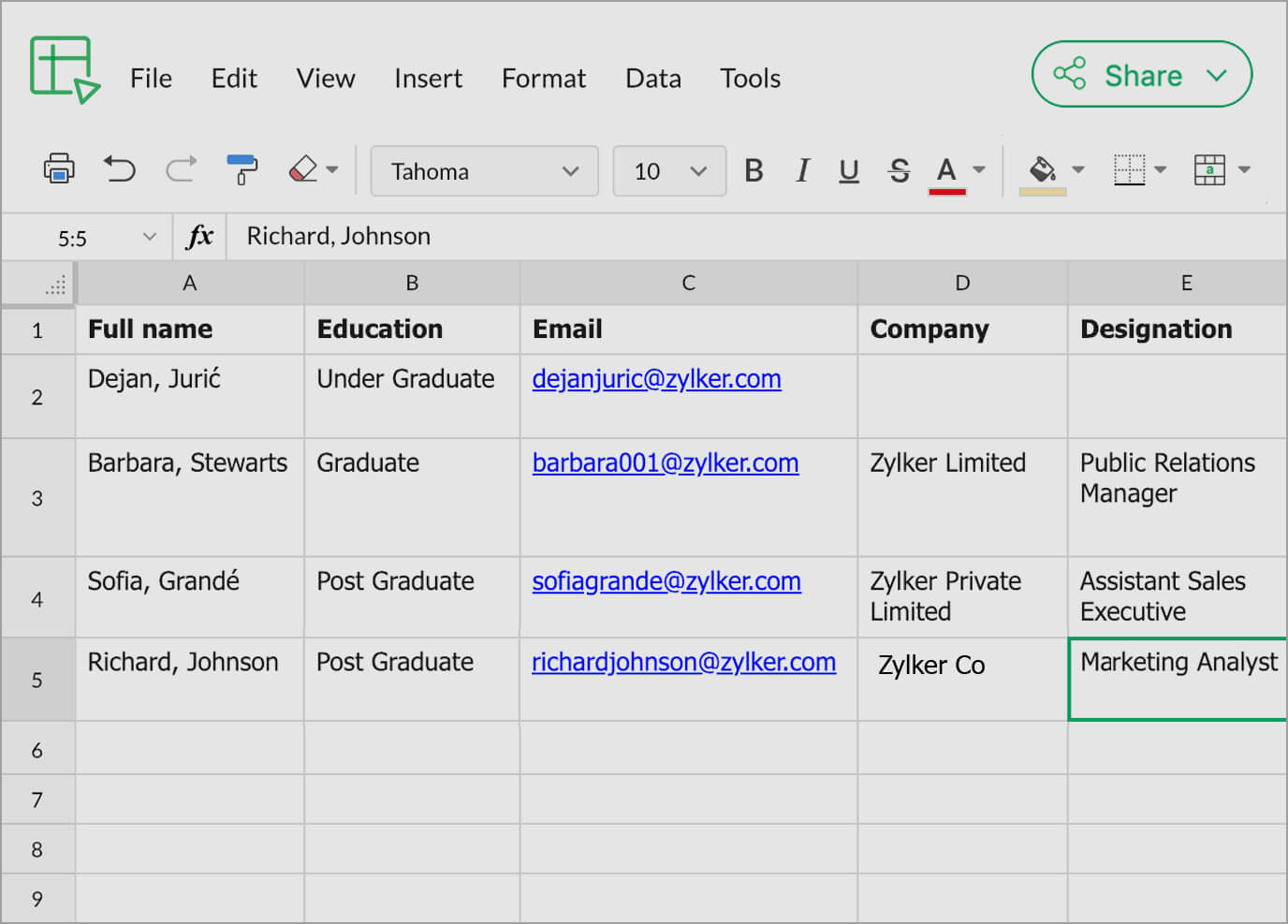 Zoho Sheet Spreadsheets