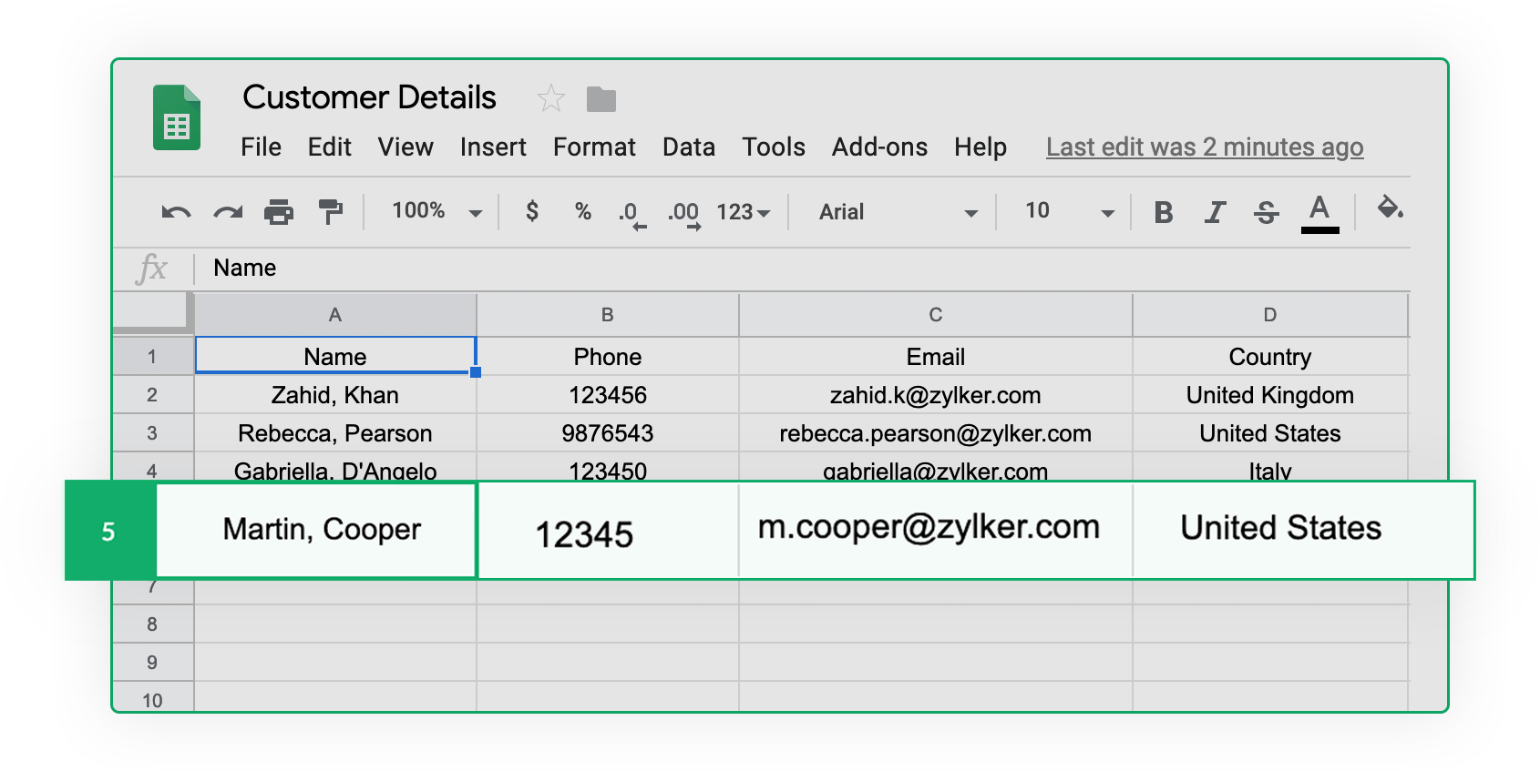 Integrate Google Sheets with Zoho Forms
