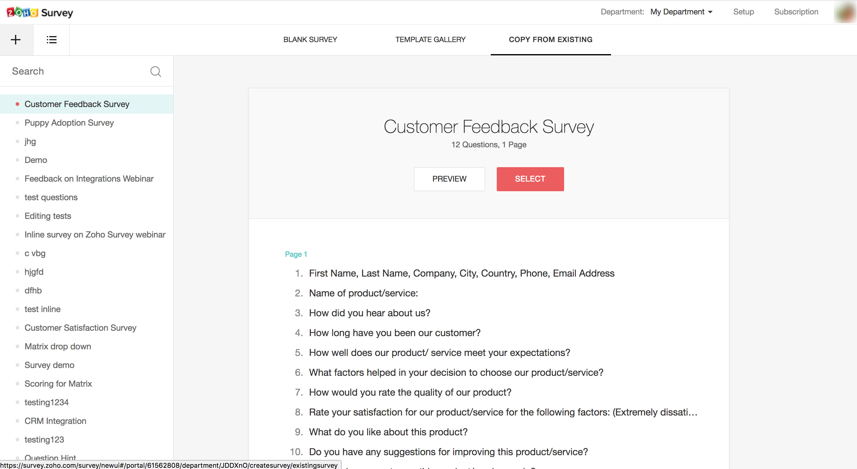 Create survey from existing survey