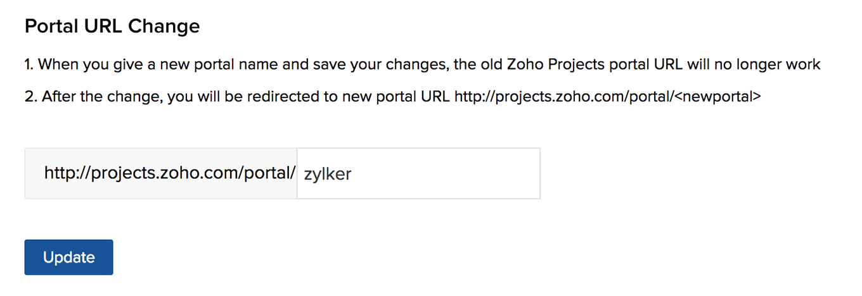 Portal Settings | Online Help | Zoho Projects