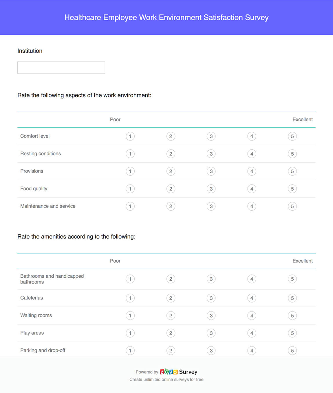 Healthcare employee work environment satisfaction survey questionnaire template